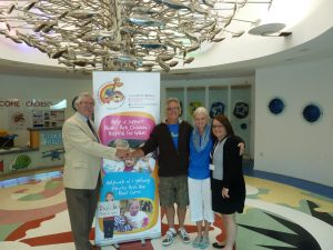 Lyn Jones chairman of the Noahs Ark Appeal, Paul Lesley and Paula, at the cheque presentation.